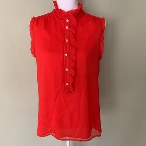 J. Crew sleeveless blouse with ruffle edges